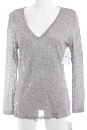 Kathleen Madden V-Ausschnitt-Pullover blasslila-schwarz meliert Casual-Look