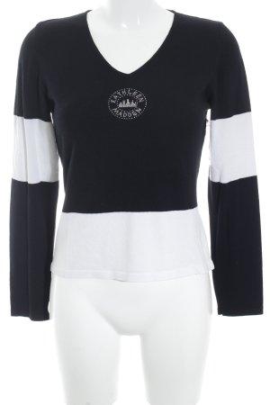Kathleen Madden V-Ausschnitt-Pullover schwarz-weiß Streifenmuster Casual-Look