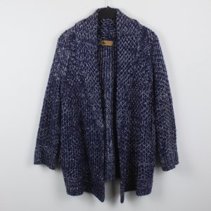 Coarse Knitted Jacket dark blue-white polyacrylic