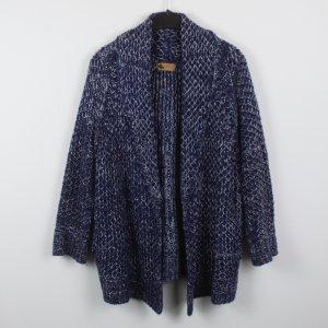 Cardigan a maglia grossa blu scuro-bianco Acrilico