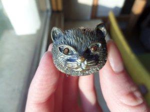 Katzen Ring Topshop mit Rubinaugen