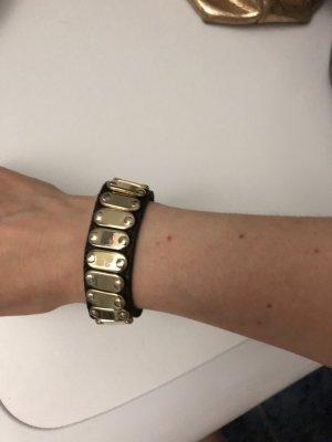 Kauf dich glücklich echt Leder Armband Nieten Gold braun Np 59 Euro