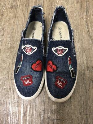 Kauf dich glücklich Jeans Slip on Sneaker Turnschuhe Gr. 38 Patches