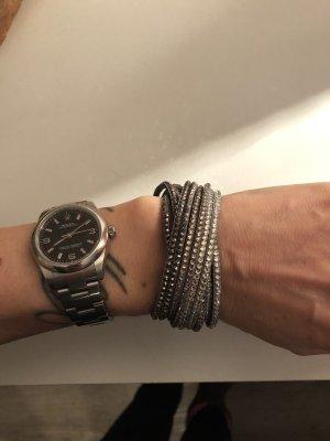 Kauf dich glücklich Lederarmband Armband Strass Glitzer grau