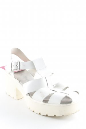 Kauf Dich Glücklich Plateau-Sandalen weiß-hellbeige extravaganter Stil