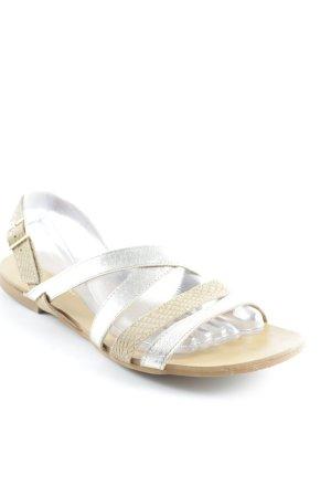 Kauf Dich Glücklich Riemchen-Sandalen beige-goldfarben Animalmuster Animal-Look