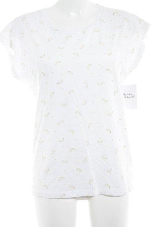Kauf Dich Glücklich T-Shirt weiß-goldorange grafisches Muster Casual-Look
