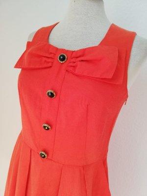 kawaii Lolita Kleid retro orange schwarz Schleife Gr. UK 8 EUR 36 S Minikleid Herbstkleid Etuikleid