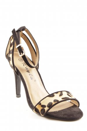 Kayla Riemchenpumps schwarz-sandbraun Leomuster Party-Look