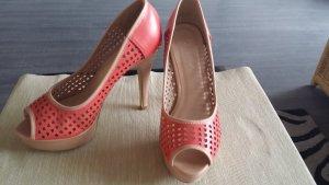 Kayla Shoes Peepteau Highheels Beige Coralle Größe 37