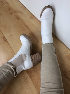 KAYLA SHOW Stiefelette Chelsea Boots beige creme Gr. 38