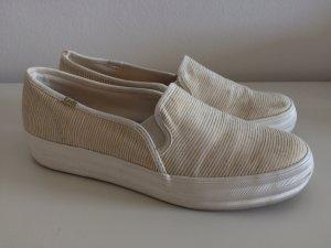 Keds Schuhe 41 Slipon Slipper beige weiß gestreift 1mal getragen Plateau