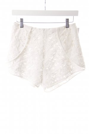 Keepsake High Waist Shorts weiß Häkeloptik
