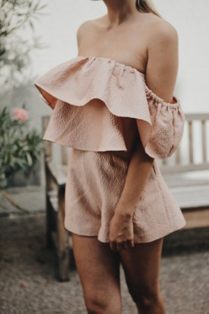 Keepsake Jumpsuit rosé Fischgrätmuster Romantik-Look