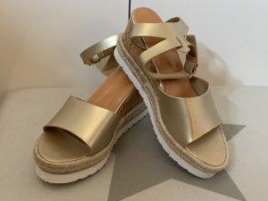 Keil Sandalette - Gold - Neu