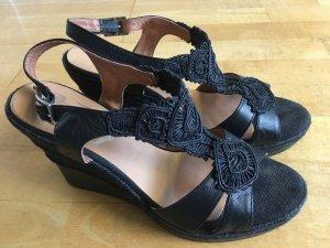 Keil Sandalette schwarze Spitze Gr41