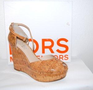 Michael Kors Platform High-Heeled Sandal light brown leather