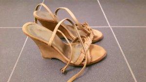 Keilabsatz Riemen Schuhe, beige 37 Made in Italy!