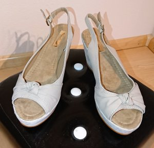 Platform Sandals light grey imitation leather