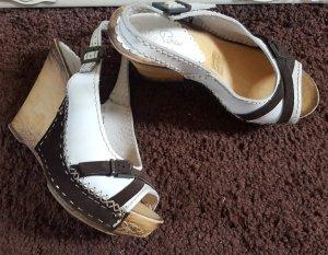 Plateauzool sandalen wit-brons Gemengd weefsel