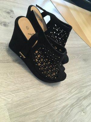 Atmosphere Zapatos de cuña negro-color oro