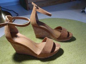 Keilabsatz Sandalen hellbraun *Wildlederoptik* Gr.38
