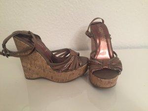 Keilabsatz Sandalen in Bronze