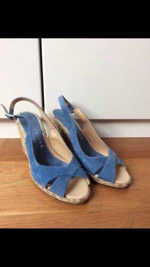 Palomitas Sandalo con plateau azzurro-beige chiaro