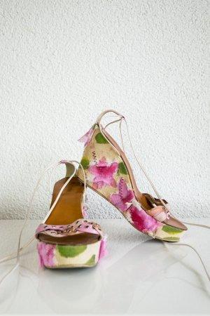 Keilabsatz Sandalen Wedges Rosa Beige Blumenprint 3-D weiße Schnüren an Fesseln Gr. 39
