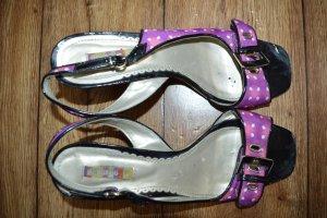 Sandalias de tacón de tiras violeta azulado-blanco