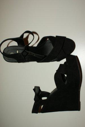 Keilabsatz Sandalette Veloursleder