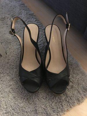 Ideal Wedge Sandals black imitation leather