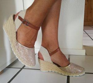 Keilabsatz Sandaletten beige braun gold Gr. 36