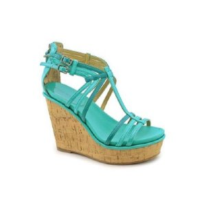 Platform High-Heeled Sandal baby blue imitation leather