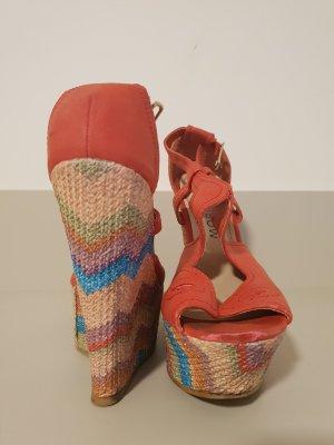 Rainbow Wedge Sandals salmon