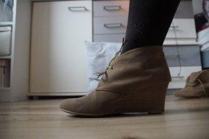 *Keilabsatz Schuhe Beige Anklebooties Stiefeletten braun**