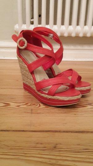 Keilabsatz Schuhe mit Bastsohle