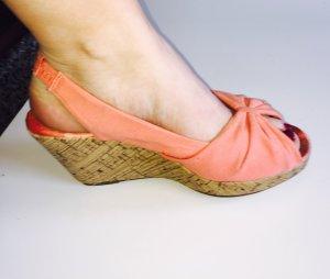 Keilabsatz Schuhe orange Größe 38