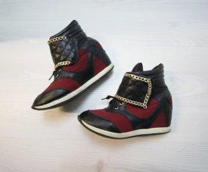 Keilabsatz Sneaker Wedges Boots Chain Ketten Detail