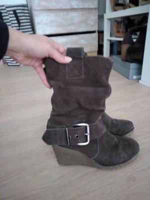 Keilabsatz-Stiefel 38 Echtleder
