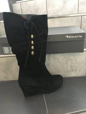 Tamaris Botas con plataforma negro Gamuza