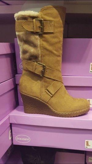 Keilabsatz Stiefel mit Fell gefüllt ❤