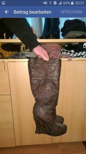 Keilabsatz stiefel mit Reißverschluss