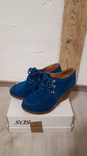 Keilabsatz Stiefeletten Keilstiefel marineblau Größe 37 SDS NEU