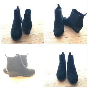 Keilabsatz Wedges Ankle Boots in Veloursoptik 39 schwarz Stiefel