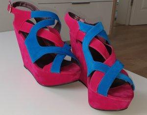 SDS Strapped High-Heeled Sandals pink-blue