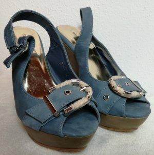 Keilabsatzsandalen jeansblau Gr. 38