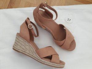 H&M Wedge Sandals sand brown-neon green