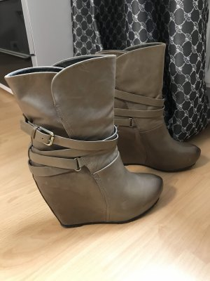 Karma Wedge Booties green grey-grey brown leather