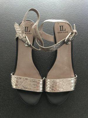 Sandalo con cinturino oro-marrone-nero Pelle